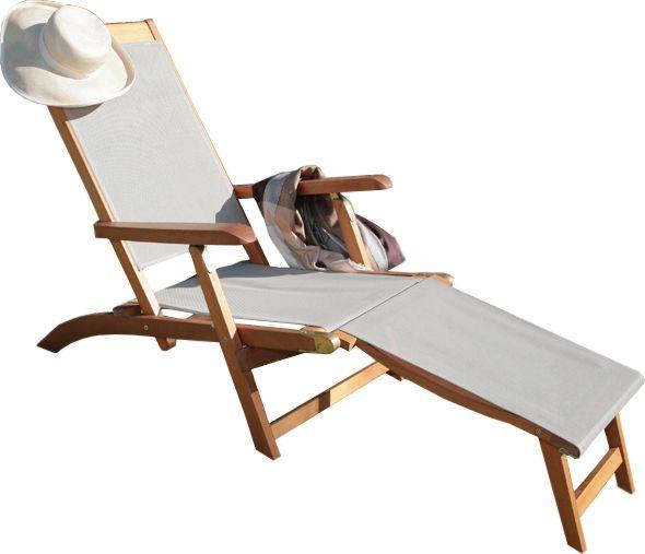 bain de soleil en bois et toile taupe. Black Bedroom Furniture Sets. Home Design Ideas