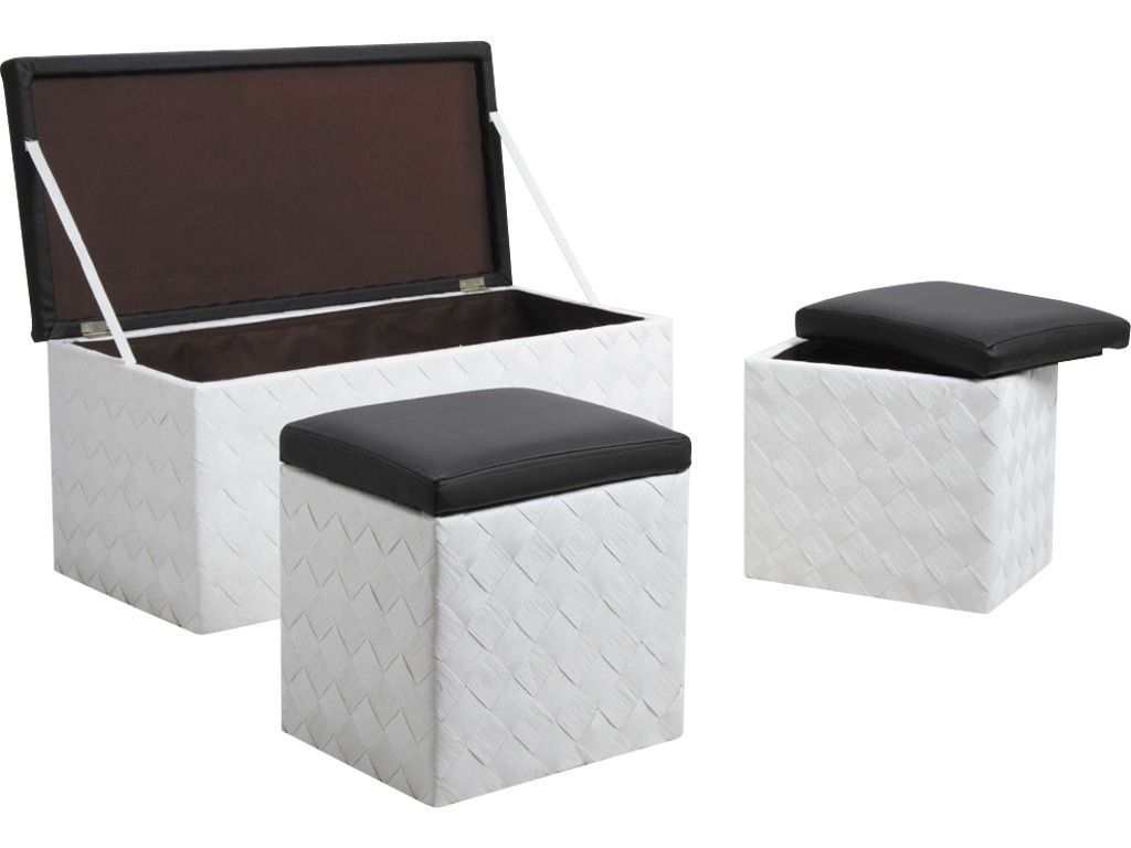 banc coffre 2 coffres poufs en corde. Black Bedroom Furniture Sets. Home Design Ideas