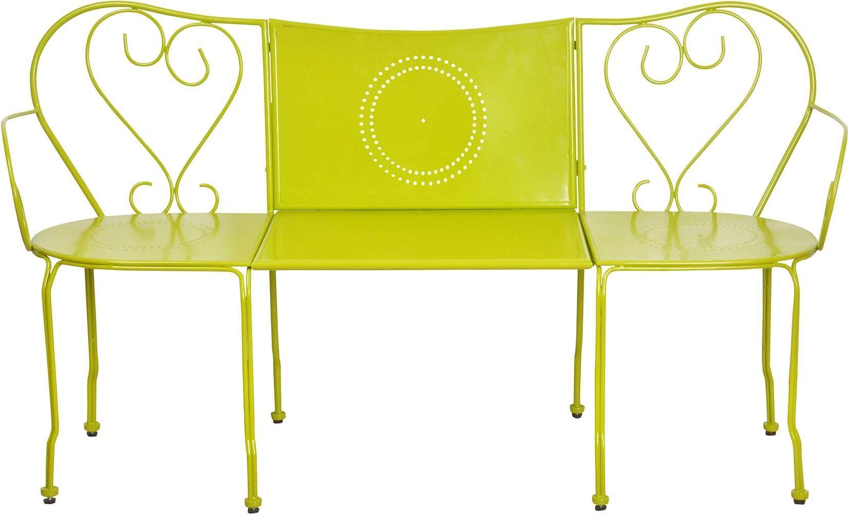 Salon de jardin salon en m tal - Banc de jardin transformable en table ...