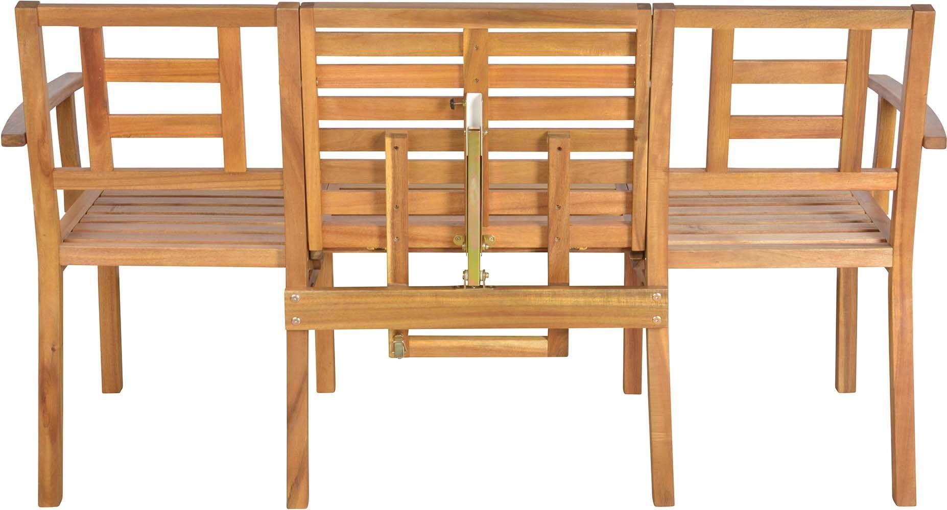 Banc de jardin convertible en table chaises en bois for Banc de jardin en bois exotique