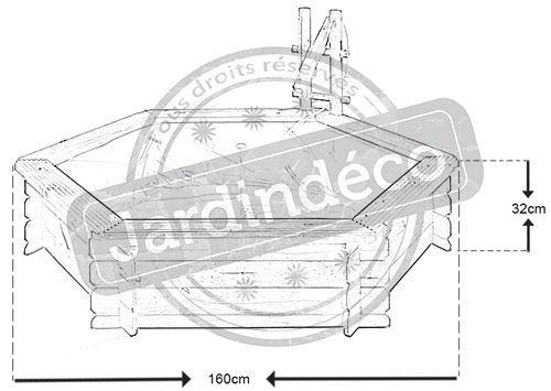 Bassin de jardin hexagonal tokyo 160x32cm Pin traité européen Jardipolys pas