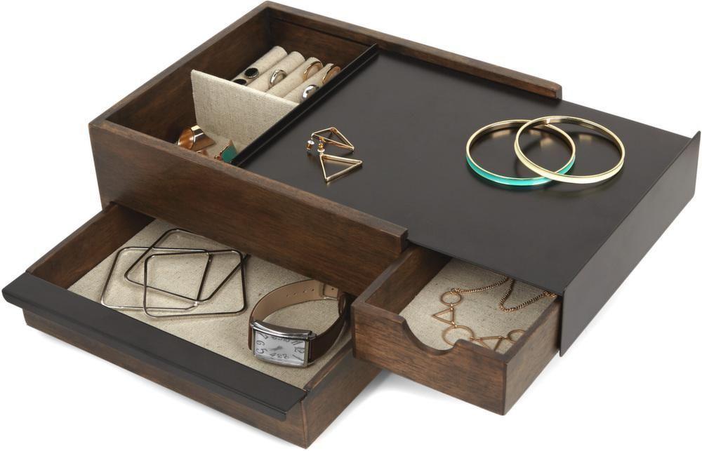 boite bijoux tiroir secret stowit bois fonc. Black Bedroom Furniture Sets. Home Design Ideas