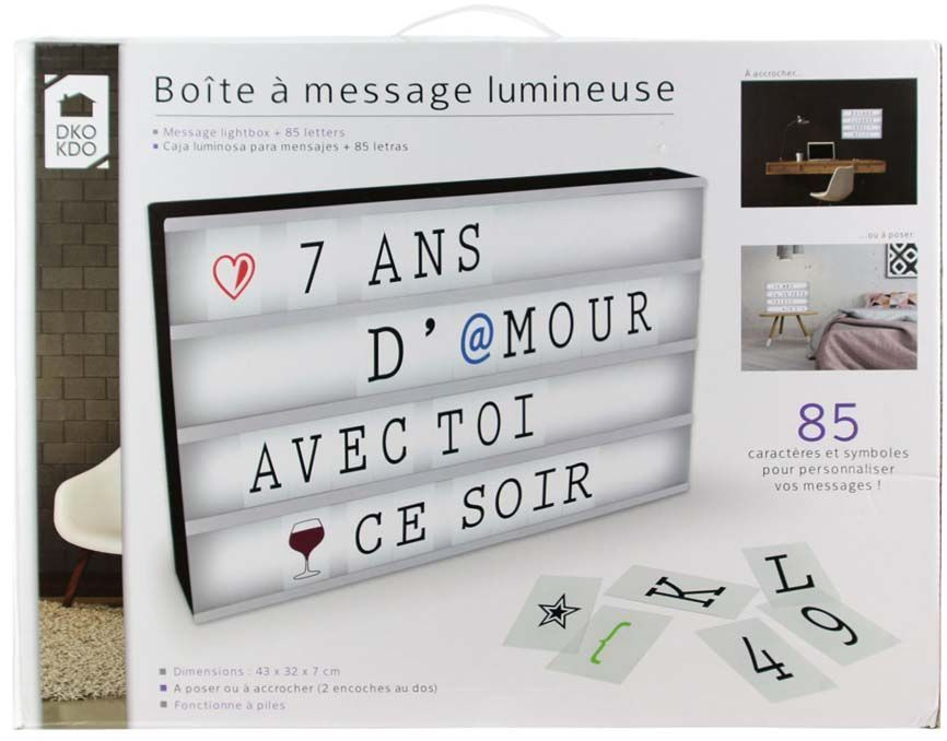 boite lumineuse message personnalisable. Black Bedroom Furniture Sets. Home Design Ideas