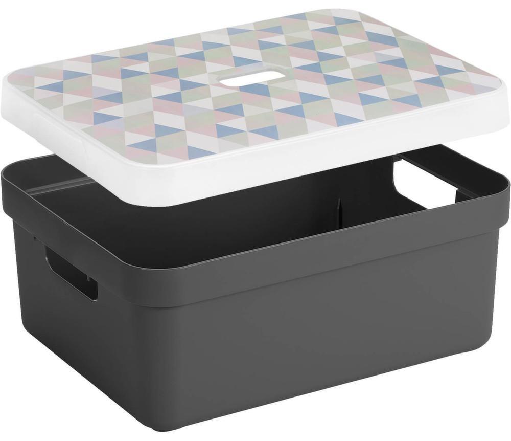 boite de rangement avec couvercle motif triangles sigma. Black Bedroom Furniture Sets. Home Design Ideas