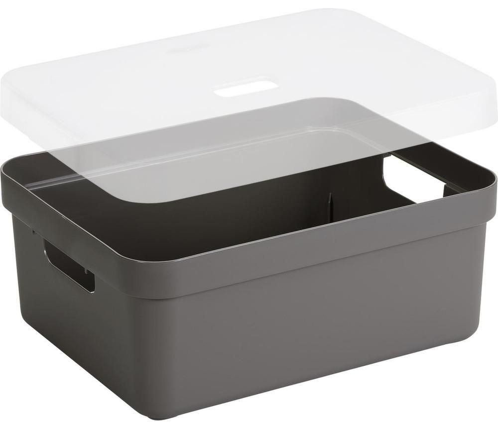 Boite de rangement avec couvercle transparent sigma home box 24l taupe - Boite de rangement avec couvercle ...