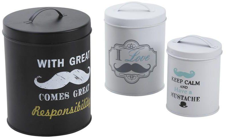 boite ronde de rangement moustache lot de 3. Black Bedroom Furniture Sets. Home Design Ideas
