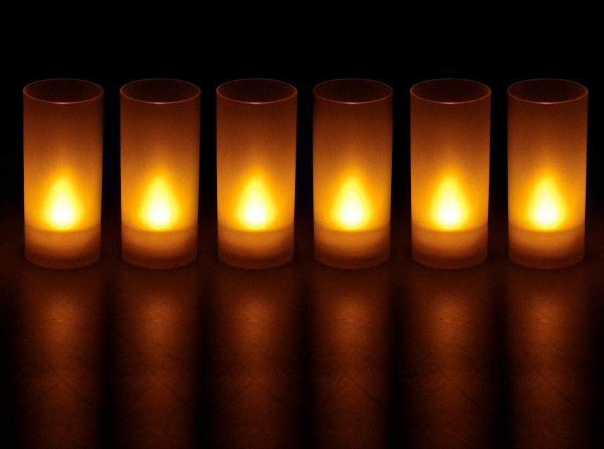 bougies led souffle lot de 6 jaune. Black Bedroom Furniture Sets. Home Design Ideas