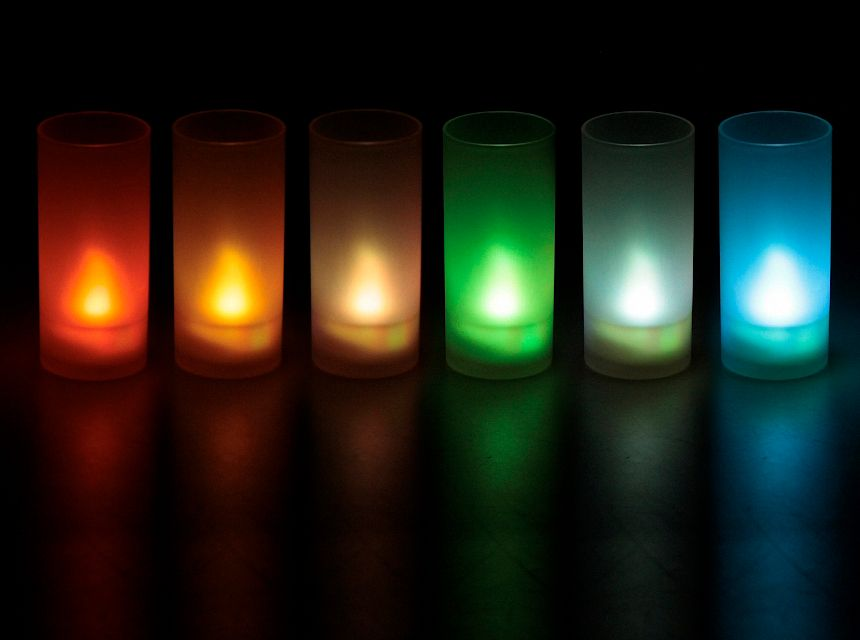 6 bougies souffle LED (multicolore)-1