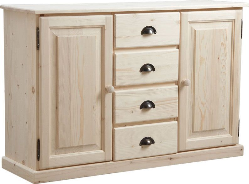 Buffet 4 portes 4 tiroirs en bois brut for Customiser meuble en bois