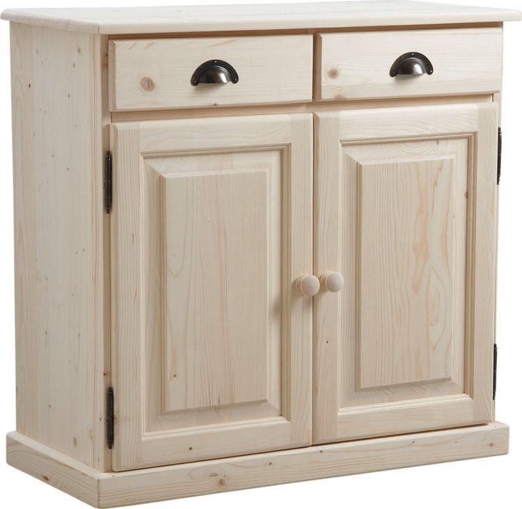 Buffet en bois brut 2 portes 2 tiroirs for Petit meuble a tiroirs en bois brut