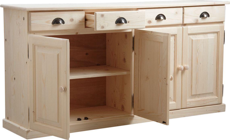 buffet 4 portes 4 tiroirs en bois brut. Black Bedroom Furniture Sets. Home Design Ideas