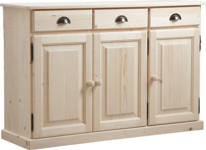Buffet 3 portes 3 tiroirs en bois brut for Porte cuisine bois