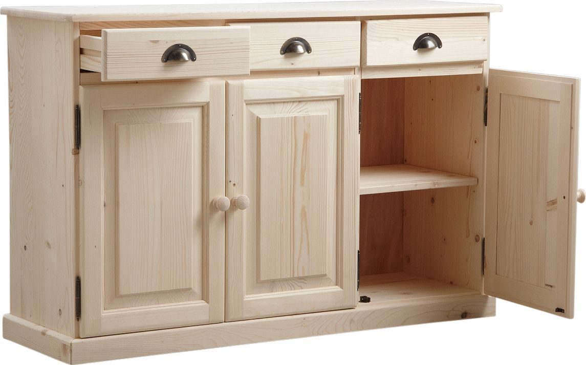 Buffet 3 portes 3 tiroirs en bois brut for Meubles en bois naturel