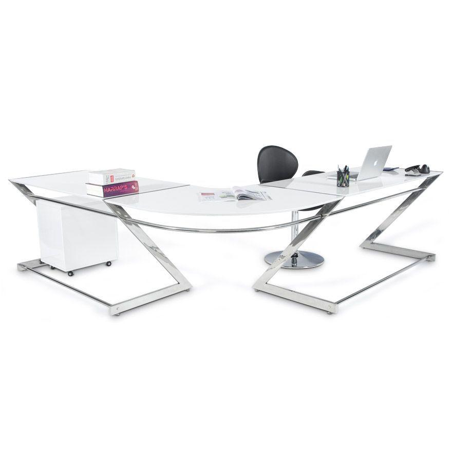 Bureau d\'angle glossy en bois blanc laqué et métal