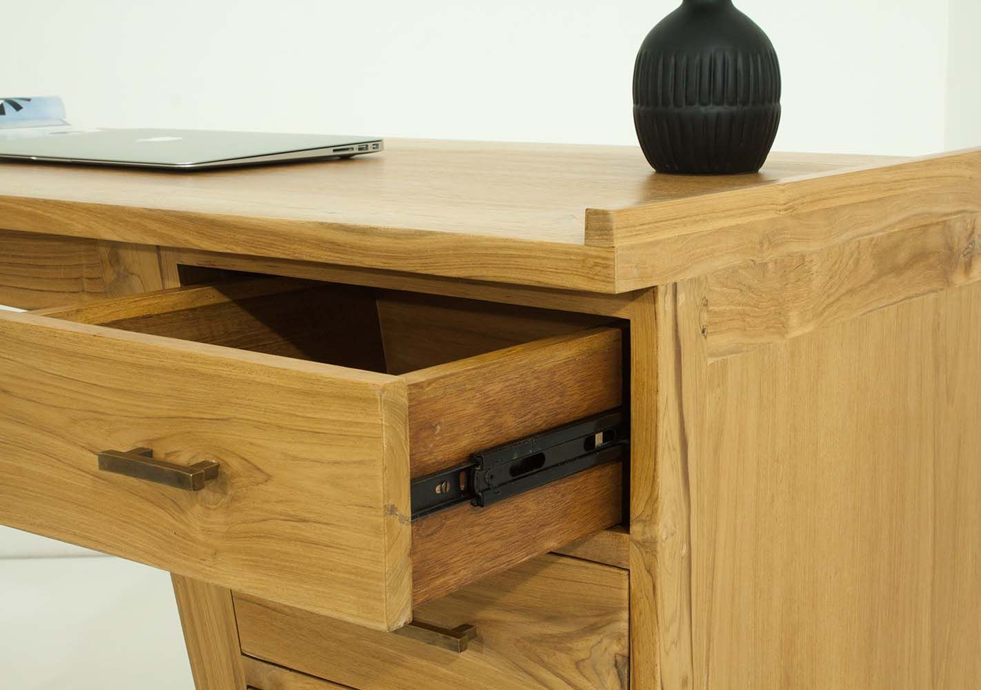 Meilleur bureau style industriel en teck et m tal meuble bois massif