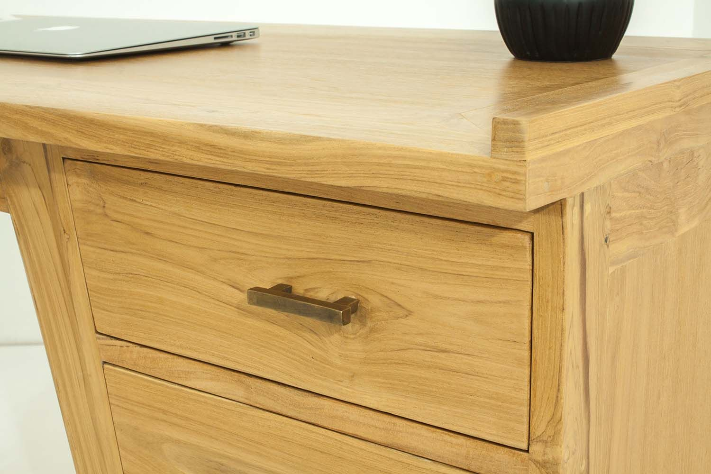 Bureau 4 tiroirs en teck massif for Bureau 8 tiroirs