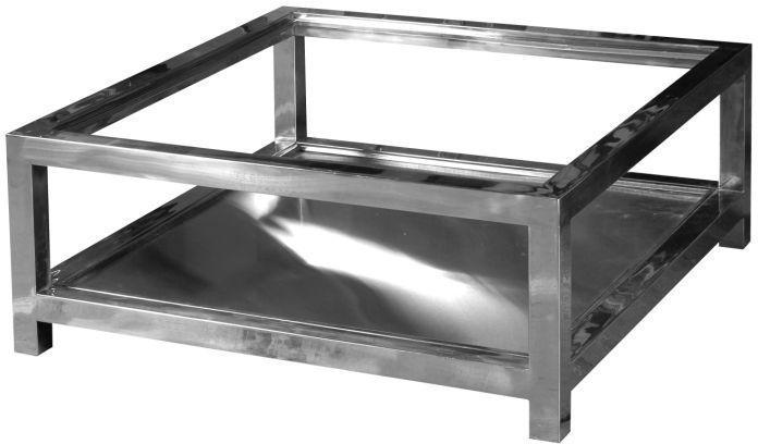 Table basse manathan en aluminium et verre 100x100x40cm