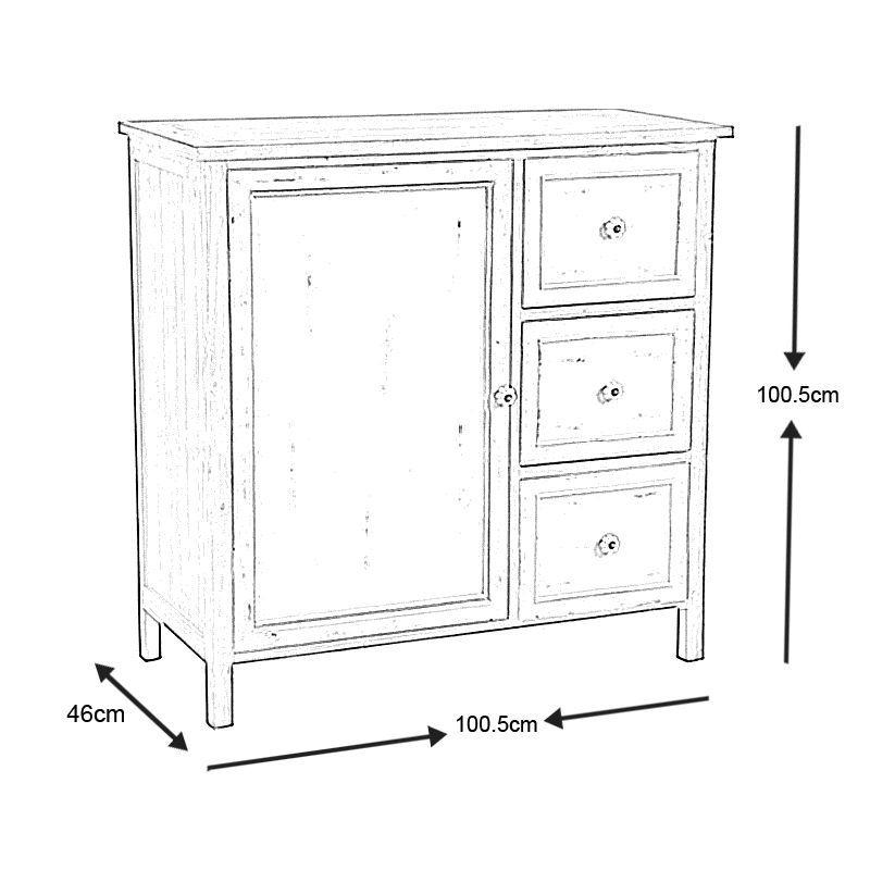 Commode 1 porte 3 tiroirs en pin antique commode aubry for Commode tiroir et porte