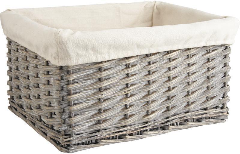 Corbeille de rangement en osier gris et coton for Panier osier rangement salle de bain