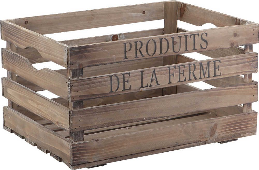 Caisse produits de la ferme en bois vieilli 40x30x22cm - Caisse pour ranger le bois ...