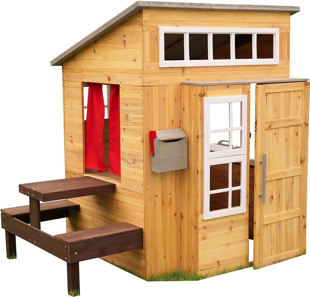 Cabane pour enfants avec table repas en bois for Cuisine en bois kidkraft