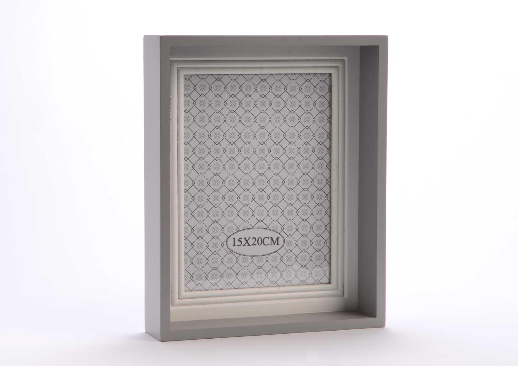 cadre photo gris et blanc 15 x 20cm. Black Bedroom Furniture Sets. Home Design Ideas
