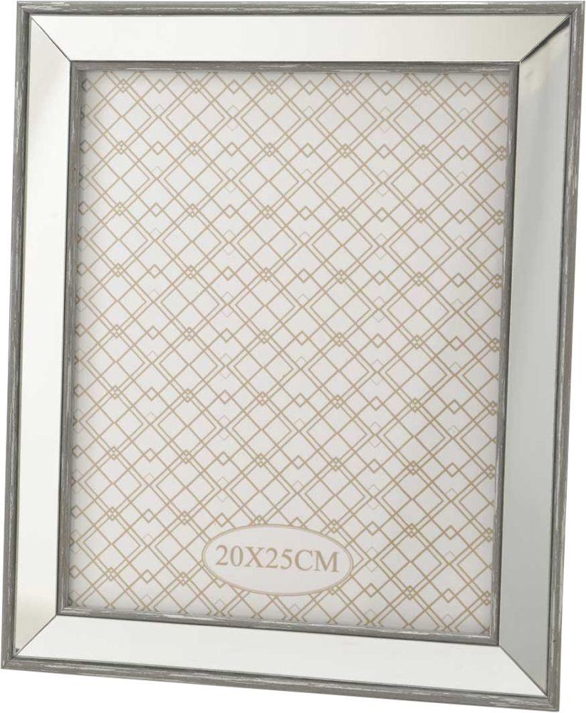 Cadre photo miroir gris for Miroir cadre blanc