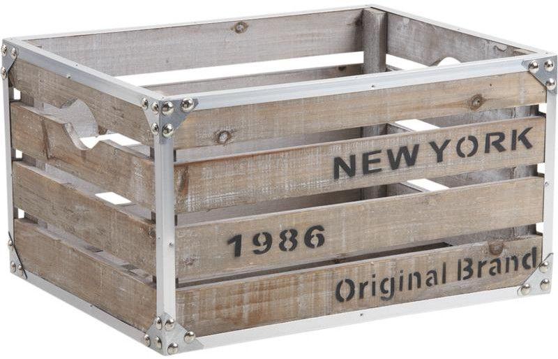 caisse new york bois et m tal. Black Bedroom Furniture Sets. Home Design Ideas