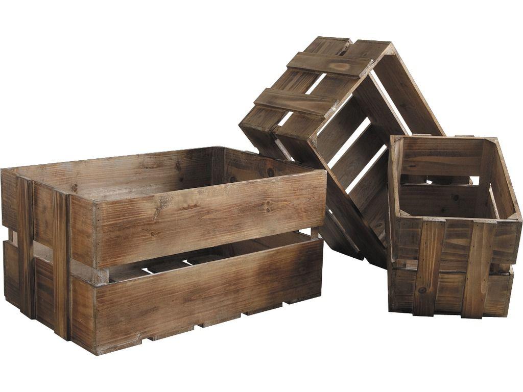 caisse en bois vieilli lot de 3. Black Bedroom Furniture Sets. Home Design Ideas