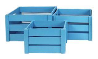 3 caisses de rangement pop en bois bleu