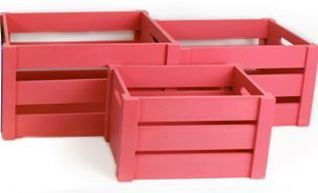 caisses de rangement pop en bois fuchsia lot de 3. Black Bedroom Furniture Sets. Home Design Ideas