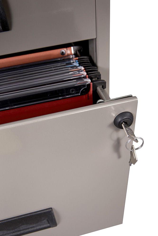 caisson 2 tiroirs sur roulettes avec serrure clef. Black Bedroom Furniture Sets. Home Design Ideas