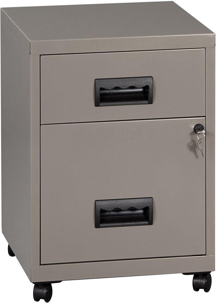 caisson 2 tiroirs sur roulettes avec serrure clef gris souris nacr. Black Bedroom Furniture Sets. Home Design Ideas