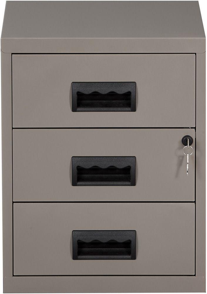 caisson 3 tiroirs sur roulettes avec serrure clef gris souris nacr. Black Bedroom Furniture Sets. Home Design Ideas