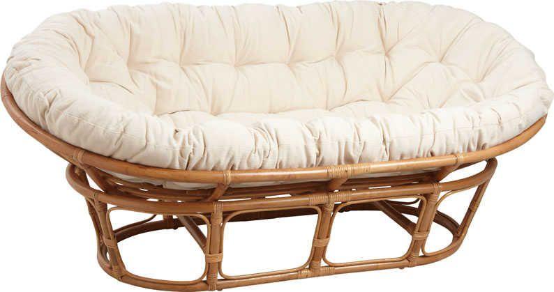 fauteuil papasan en rotin avec coussin écru