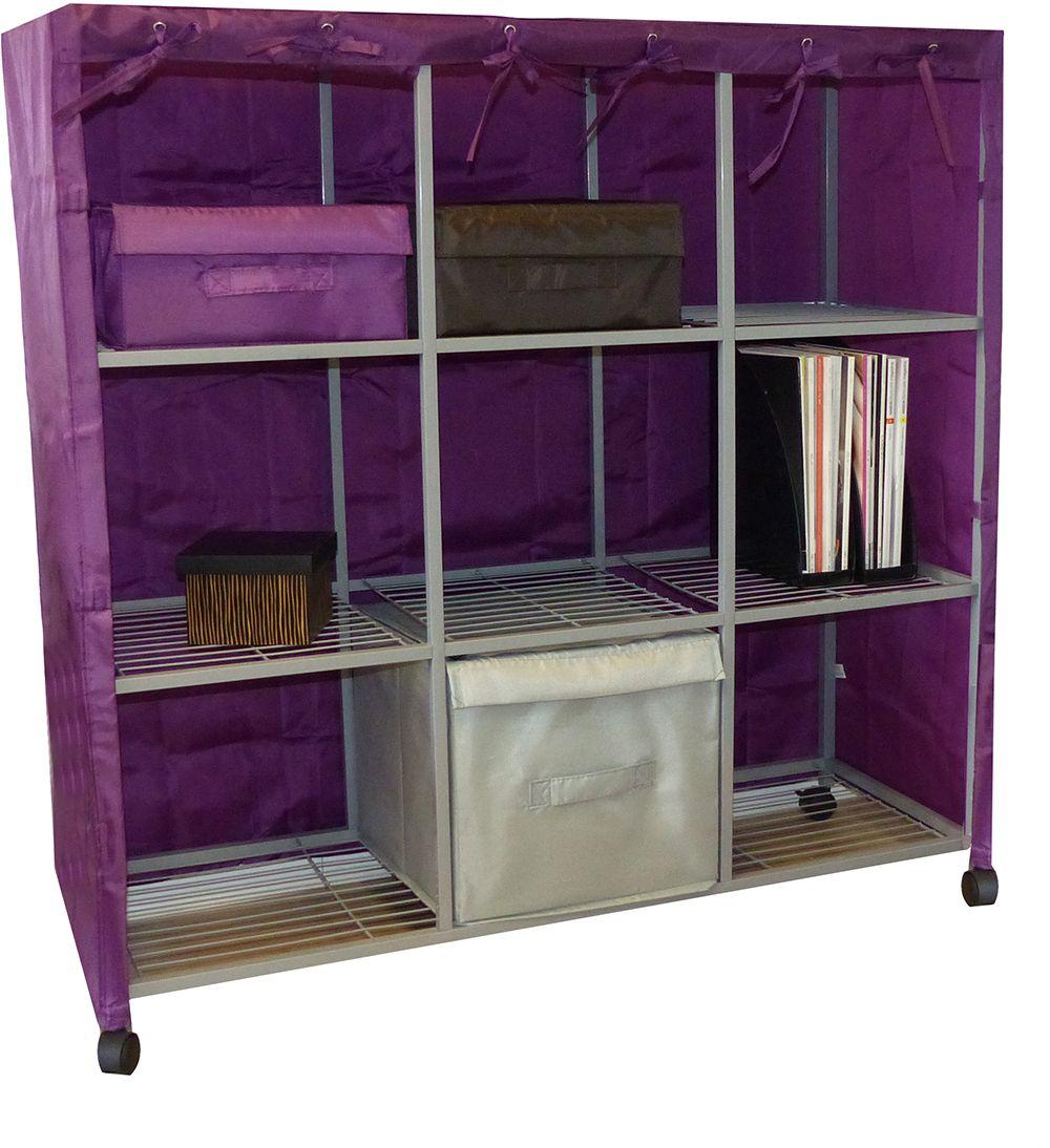 casier 9 cases avec housse will b prune prune. Black Bedroom Furniture Sets. Home Design Ideas