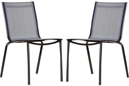 Chaise linea en aluminium et textil ne argent lot de 2 - Chaises en aluminium ...