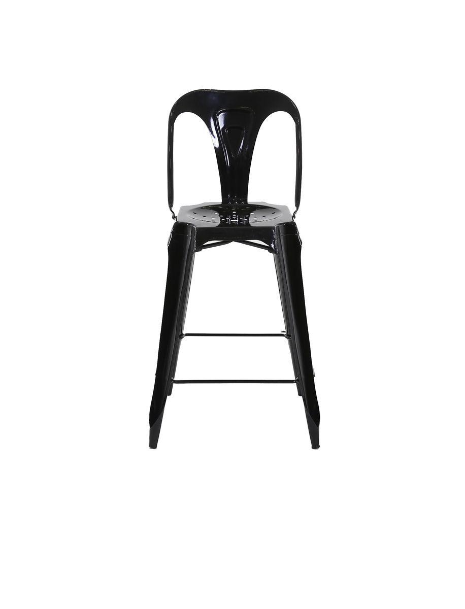 chaise de bar esprit industriel lot de 2 noir. Black Bedroom Furniture Sets. Home Design Ideas
