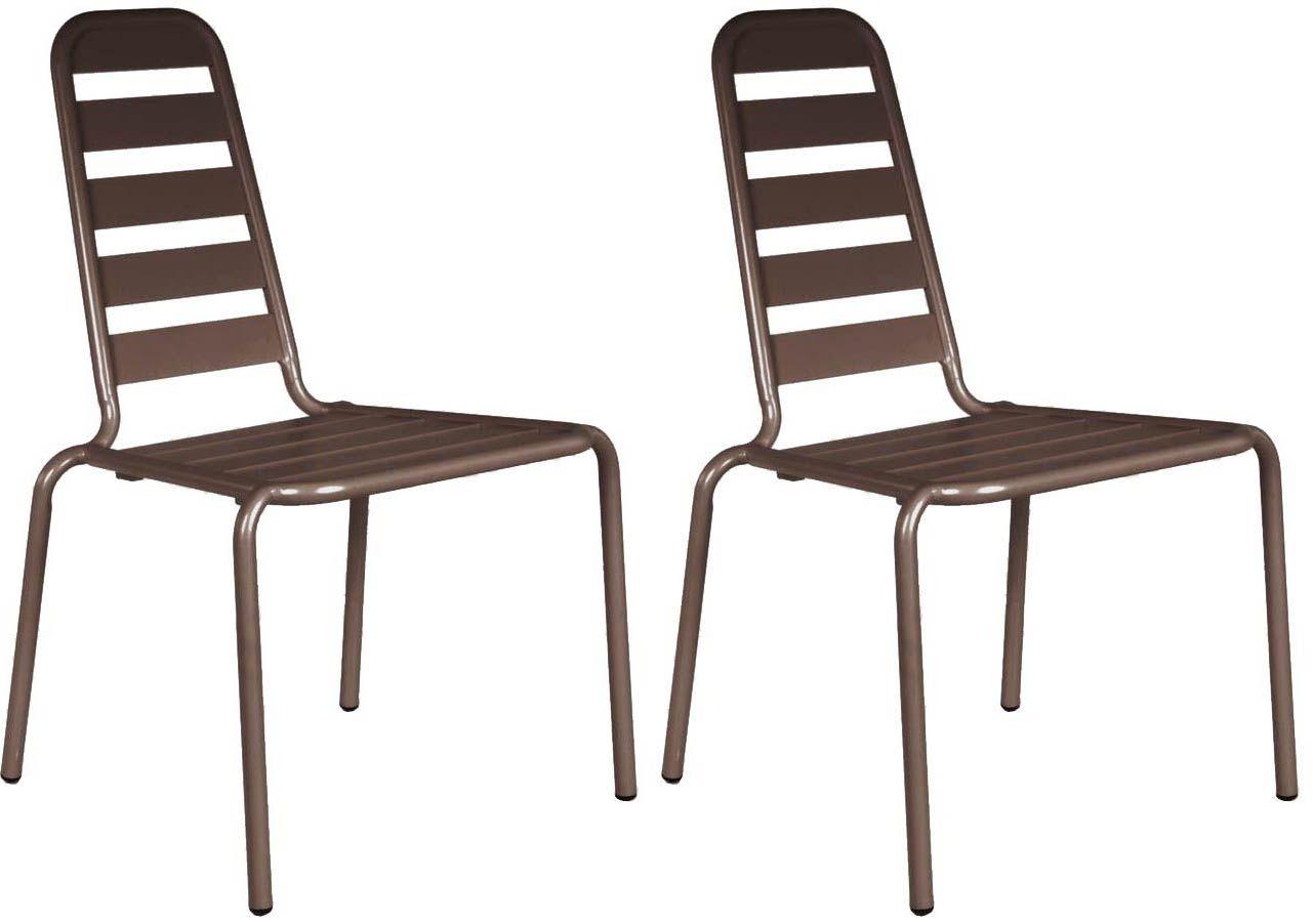 chaise empilable menu en aluminium lot de 2 rouille. Black Bedroom Furniture Sets. Home Design Ideas