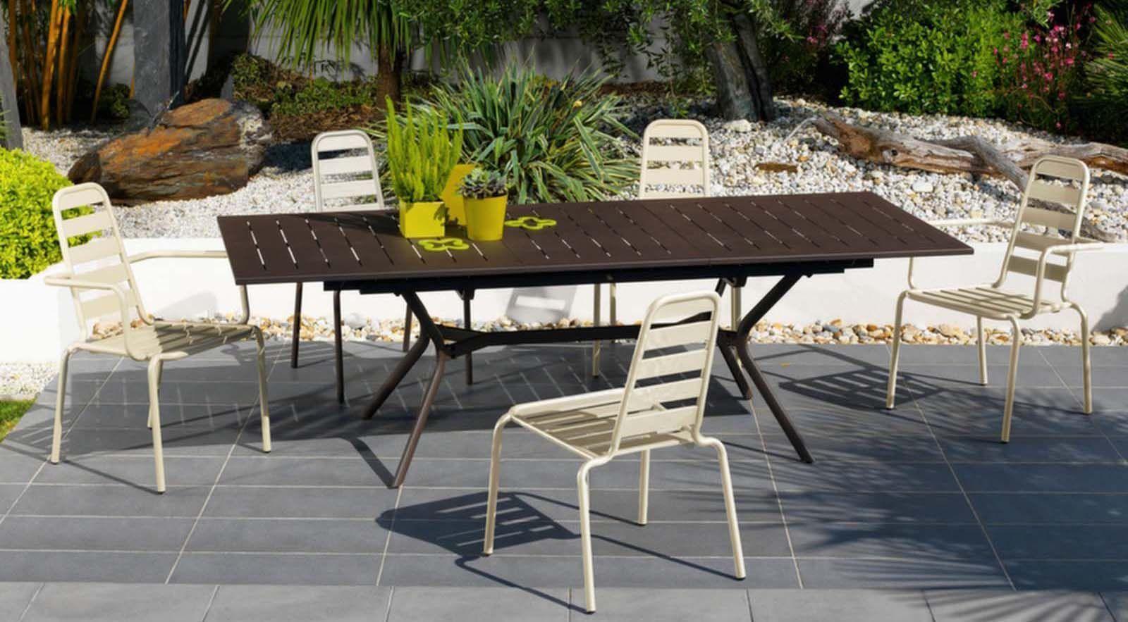 chaise empilable menu en aluminium lot de 2 nacre. Black Bedroom Furniture Sets. Home Design Ideas