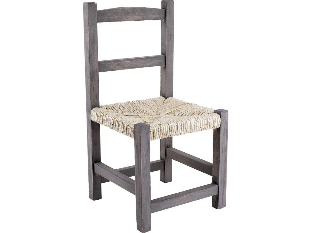 chaise enfant en bois gris