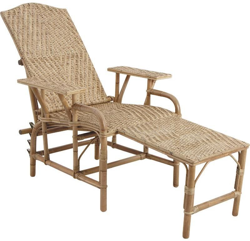 Chaise longue en manau et lame de rotin for Chaise longue rotin