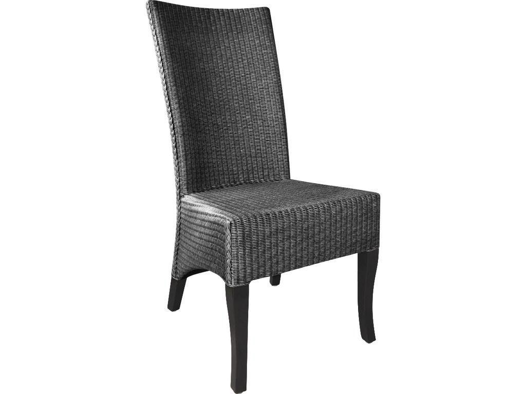 chaise en loom anthracite et acajou adlon. Black Bedroom Furniture Sets. Home Design Ideas