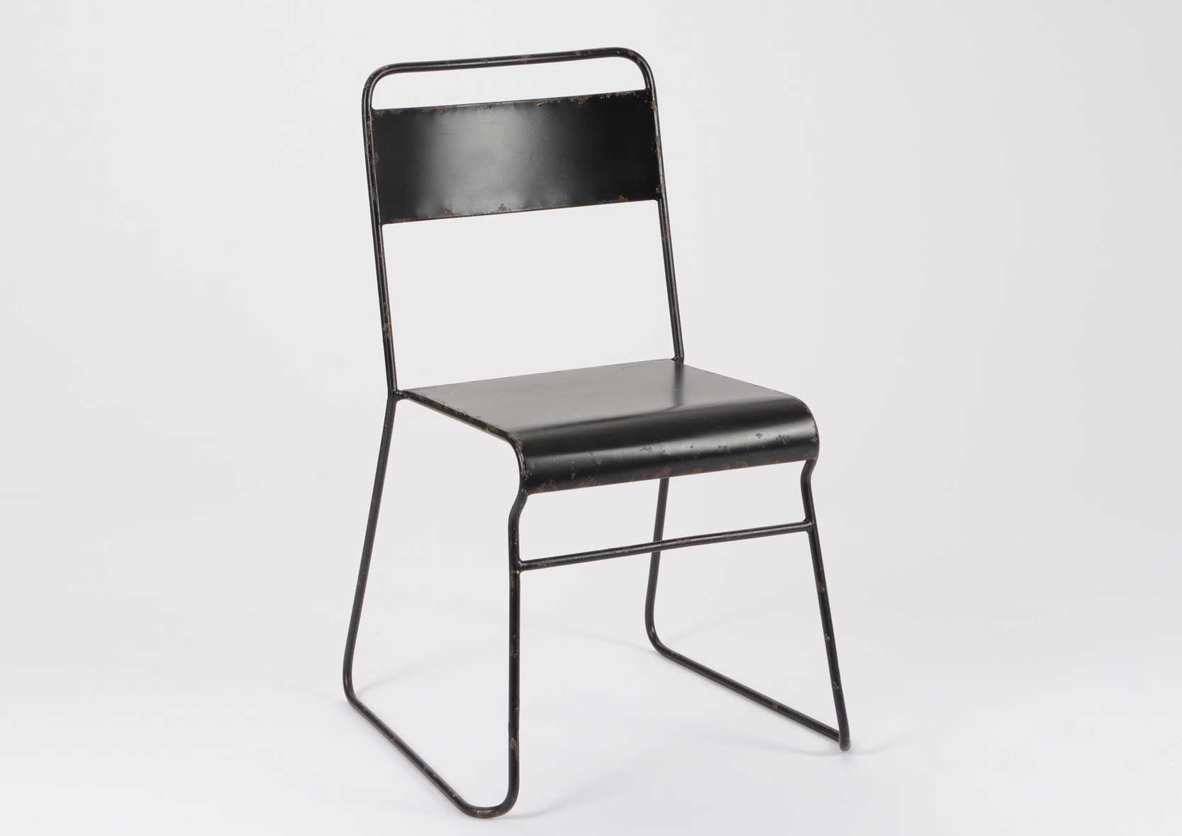 chaise noire en metal. Black Bedroom Furniture Sets. Home Design Ideas