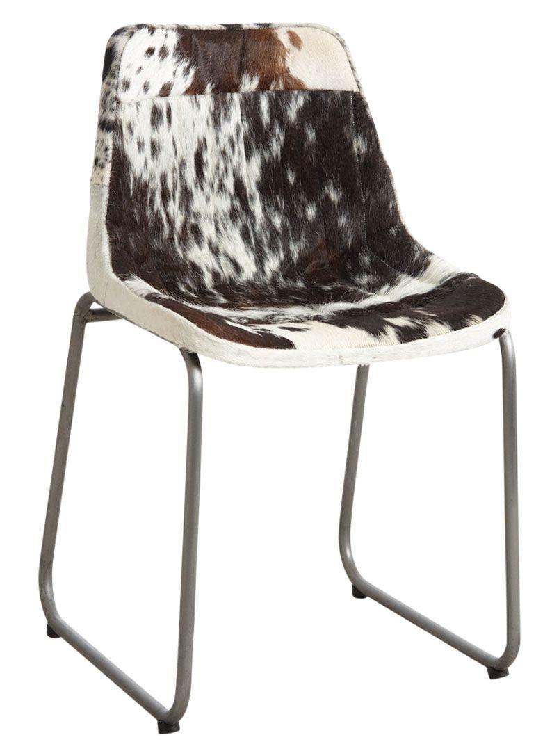 Chaise en peau de vache noire et blanche for Chaise peau de vache