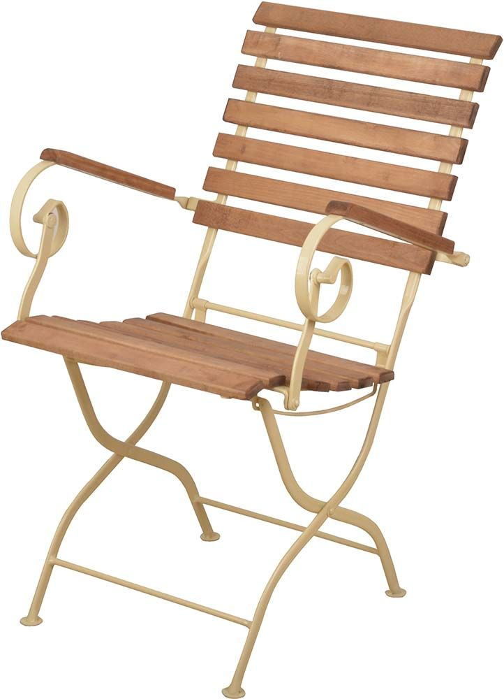 Chaise pliable en bois et m tal cr me for Chaise pliable