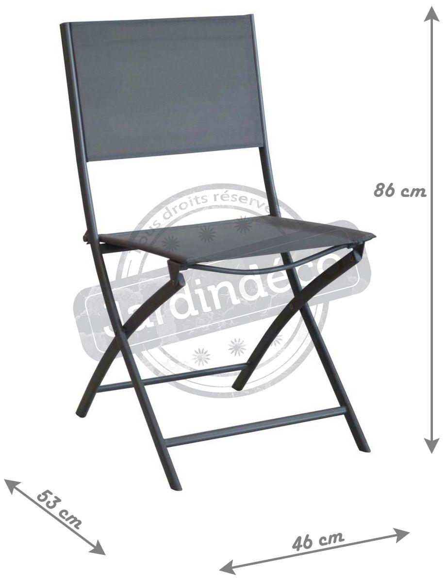 chaise pliante en acier et toile dream lot de 6 gris. Black Bedroom Furniture Sets. Home Design Ideas