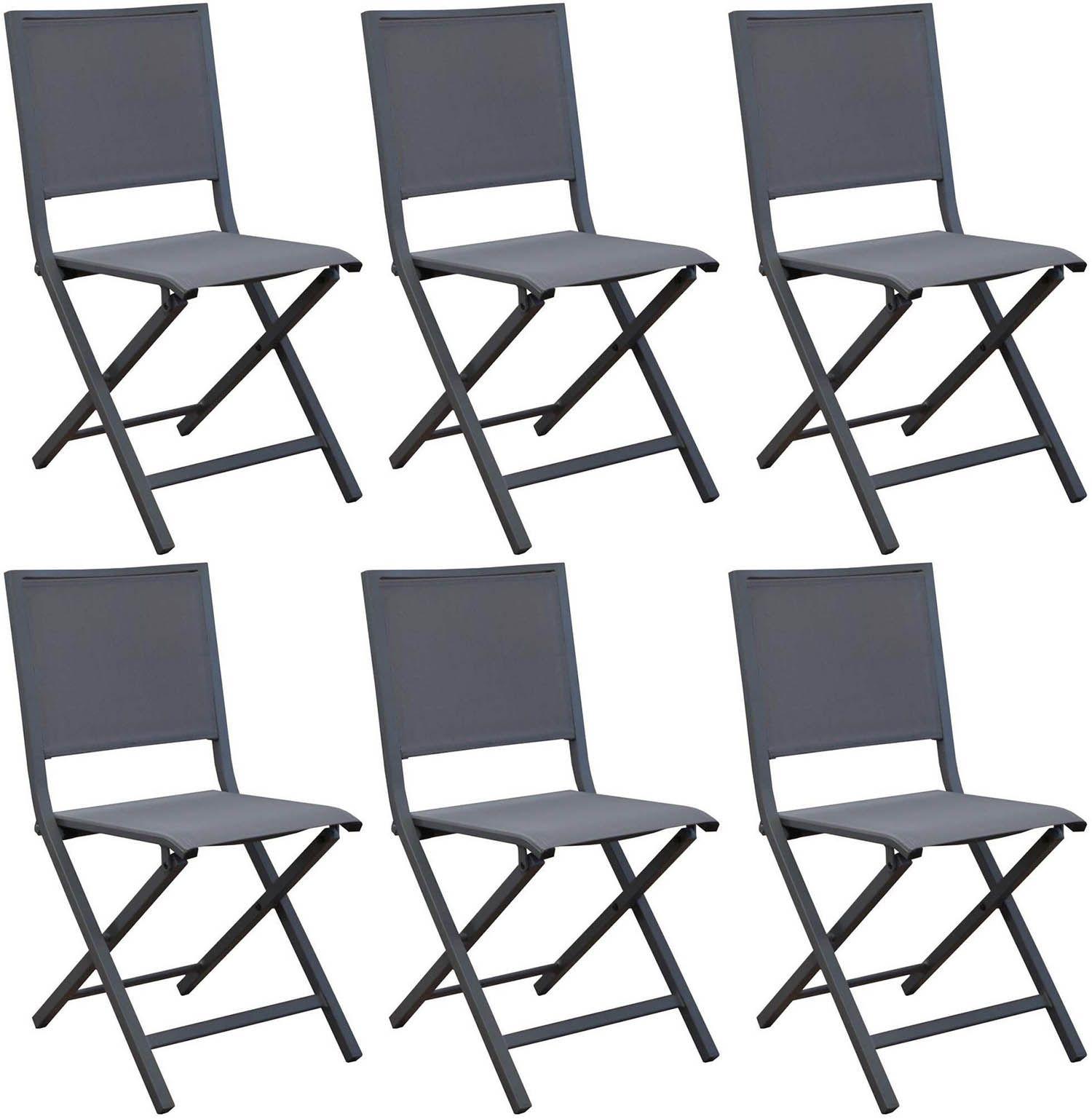 chaise pliante en aluminium florence lot de 6 gris. Black Bedroom Furniture Sets. Home Design Ideas