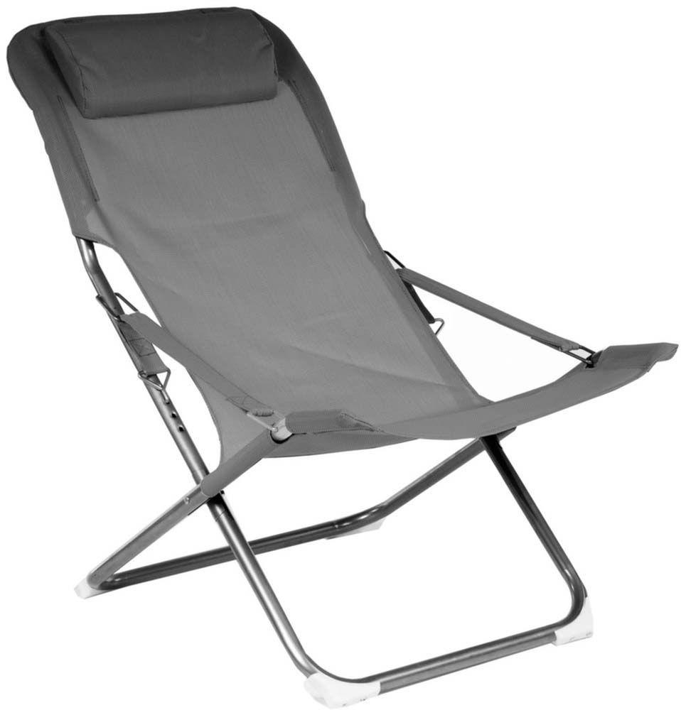 chaise relax en acier et toile easy lot de 2 gris. Black Bedroom Furniture Sets. Home Design Ideas