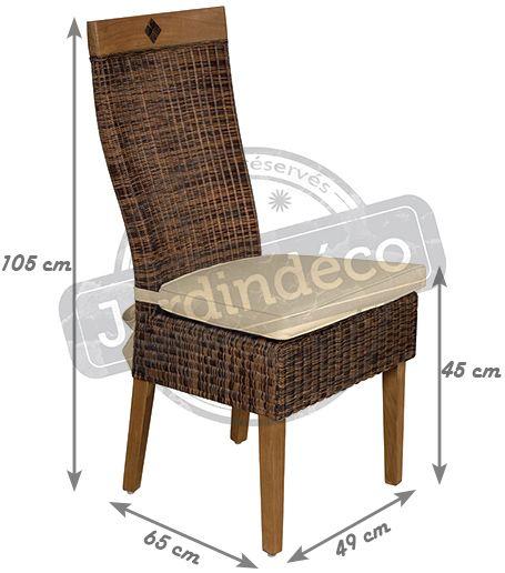 chaise en rotin et teck avec coussin. Black Bedroom Furniture Sets. Home Design Ideas